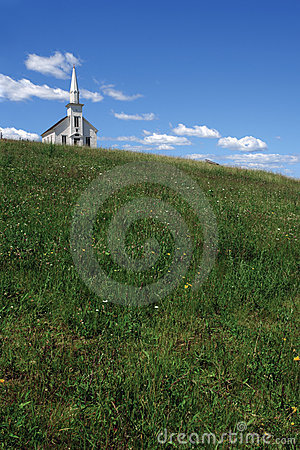 Free Little White Church Over The Hill Royalty Free Stock Image - 22909026