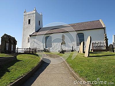 Little white church with path