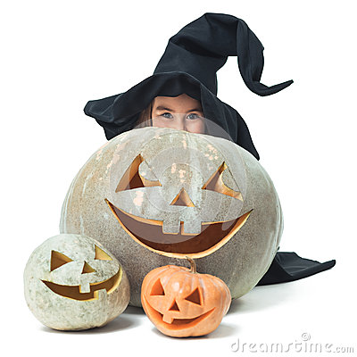 Free Little Witch Hiding Behind Pumpkins Royalty Free Stock Images - 34031539