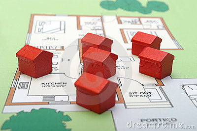 Little wood houses on a plan
