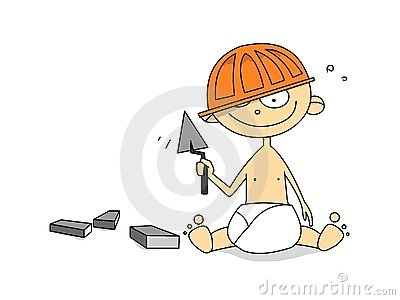 Little worker with instrument
