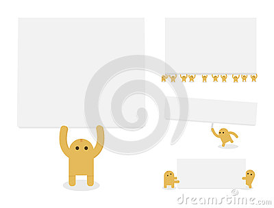 Little yellow characters hold blank paper or banne