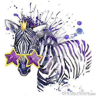 Free Little Zebra T-shirt Graphics. Little Zebra Illustration With Splash Watercolor Textured Background. Unusual Illustration Waterc Royalty Free Stock Image - 56798446