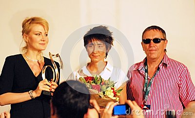 Litvinova, Zemfira, Plakhov at press-conference Editorial Photography
