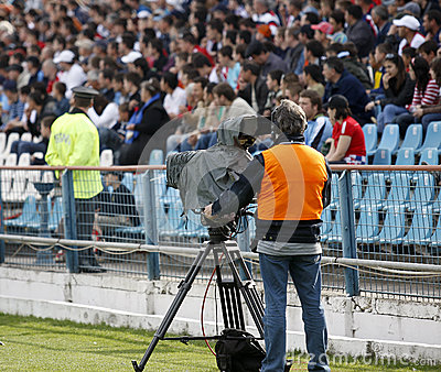 Live broadcasting camera operator Editorial Stock Photo