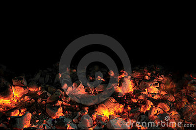 Live Coals With Black Background