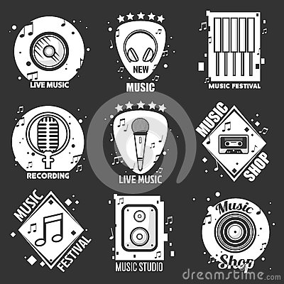 Live music festival, shop and recording studio emblems Vector Illustration