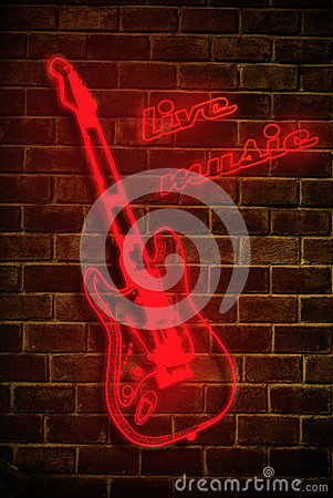 Free Live Music Neon Sign Stock Photography - 25083022