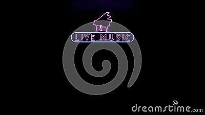 Live Music Neon Sign Flickering Alpha Channel stock de ilustración