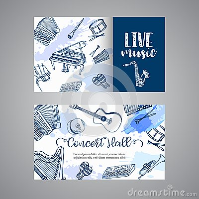Free Live Music Tickets Music Instruments, Banner Design. Hand Drawn Drum, Piaono, Violin, Guitar And Saxophone On Paint Stock Photography - 114004912
