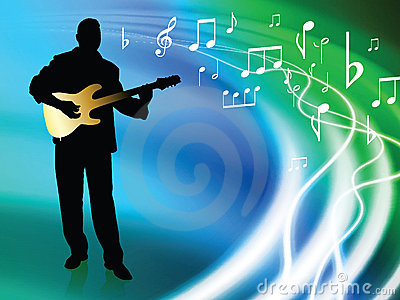 Live Musician on Abstract Liquid Wave Background