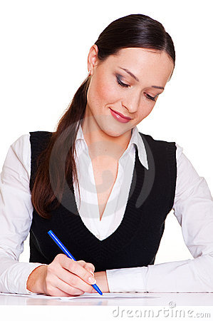 Lively businesswoman writing