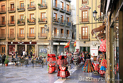 Lively and friendly Plaza Pasiegas, Granada, Spain Editorial Photo