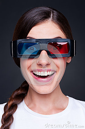 Lively woman in 3d glasses