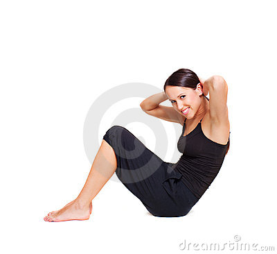 Lively woman doing sport exercises