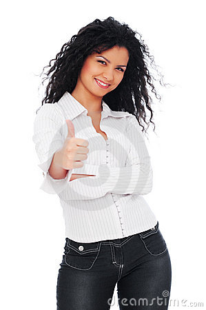 Lively woman showing thumbs up