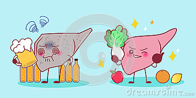 Liver with health problem Vector Illustration