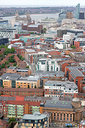 Liverpool City Centre Skyline Aerial