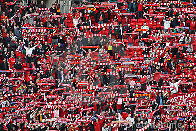 Liverpool fans celebrating Carling Cup Editorial Stock Image