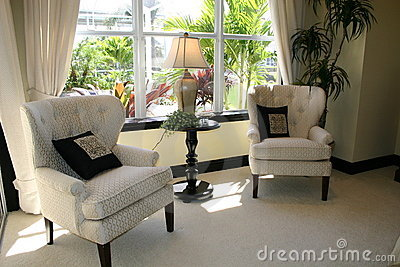 Living area with view of garden