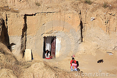 Living in cave-house in Spanish Guadix, Andalusia Editorial Stock Photo