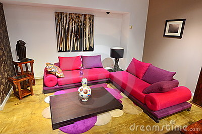 Living room with colorful comfortable couch
