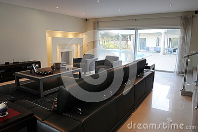 Luxurious Living Room - Beautiful Lighted Fireplace