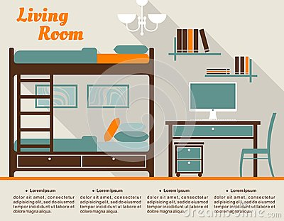 living room modern interior design infographic in flat style including