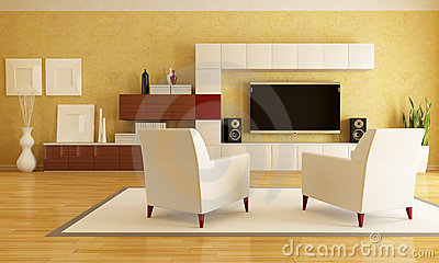 Living room with hd tv