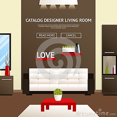 Living Room Interior Stock Vector Image 57213928