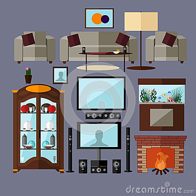 Free Living Room Interior With Furniture. Concept Vector Illustration In Flat Style. Home Related Isolated Design Elements Royalty Free Stock Image - 66030776