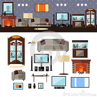 Free Living Room Interior With Furniture. Vector Stock Images - 65497204