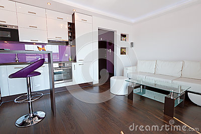 Living room with kitchen interior