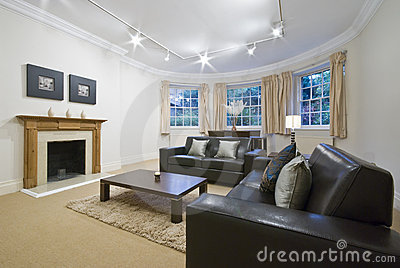 Living room with large bay window
