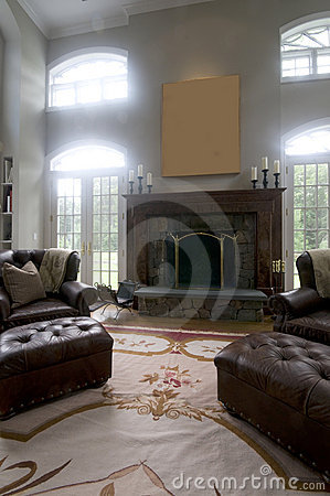 living room leather chairs fireplace