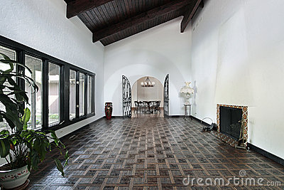 Living room with parquet floor