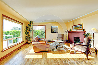 Living Room With Red Brick Fireplace Stock PhotoImage 39702880