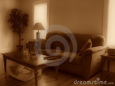 Living room in sepia