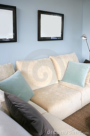 Living room with sofa and blue wall