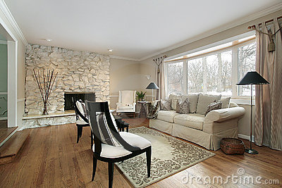 Living Room With Stone Fireplace Stock Image Image 12662391
