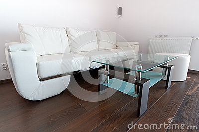 Living room with white leather sofa