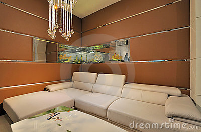 Living room with wide sofa
