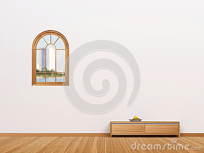Living room and windows on wall