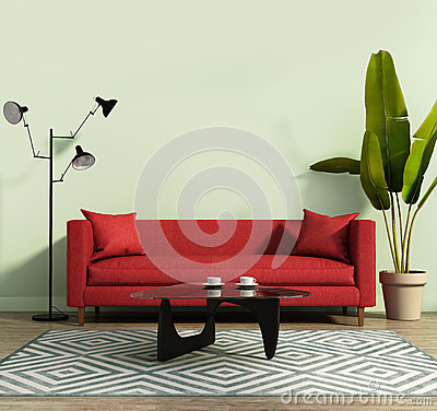 Free Living Room With A Red Sofa And A Geometrical Rug Stock Photo - 56779880