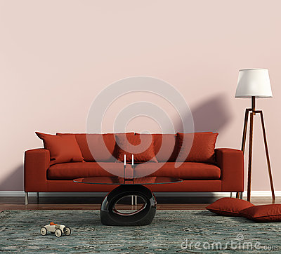 Free Living Room With A Red Sofa And A Geometrical Rug Royalty Free Stock Photography - 57103627