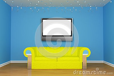 Living room with yellow couch and LCD tv