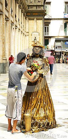 Living statue in the Gallery of Umberto I, Naples Editorial Image