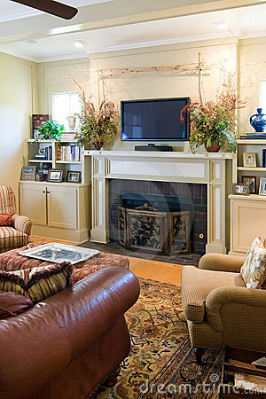 Livingroom with fireplace and tv