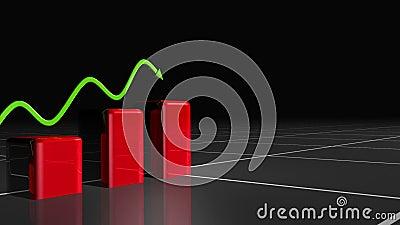 Livlig grafisk visningtillväxt med en grön pil
