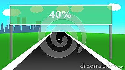 Livlig huvudväg med vägmärket som procentsatser Sömlös ögla 4k lager videofilmer